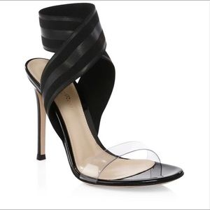 Gianvito Rossi Leather & PVC Ankle Strap Sandals